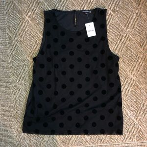 JCrew Black Velvet Polka Dot Tank Top Size S